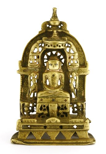 Lot 11-An Indian copper-alloy Jainism tirthankara shrine