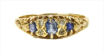 Lot 6-A Victorian 18ct gold sapphire and diamond ring