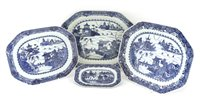 Lot 51-A collection of four Chinese blue and white meat dishes