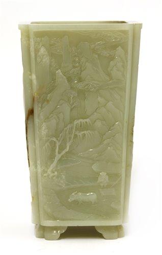 165 - A Chinese jade brush pot