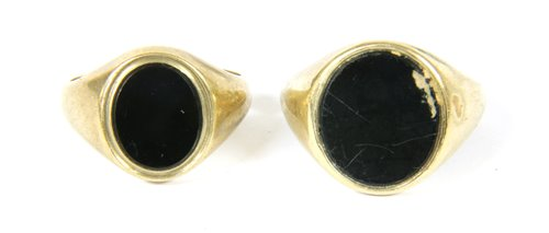 Lot 9-Two onyx signet rings