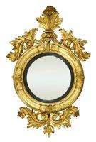 Lot 25-A Regency giltwood convex wall mirror