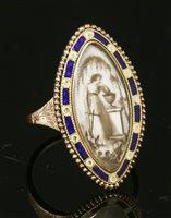 Lot 9-A Georgian gold and enamel memorial ring