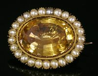 Lot 15-A Georgian gold foiled back citrine and split pearl brooch/pendant