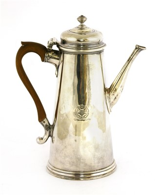 Lot 22-A George II silver coffee pot