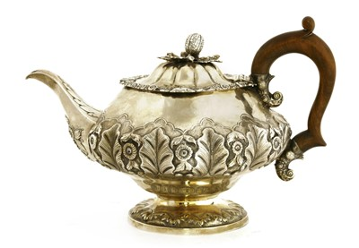 Lot 10-A William IV silver teapot