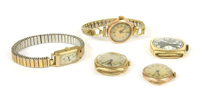 Lot 6-Four 9ct gold mechanical strap watches