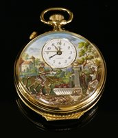 Lot 588-A cased gold-plated Charles Reuge à Sainte-Croix musical automata alarm pocket watch