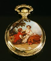 Lot 591-A cased Reuge Musical gold plated full hunter pocket watch