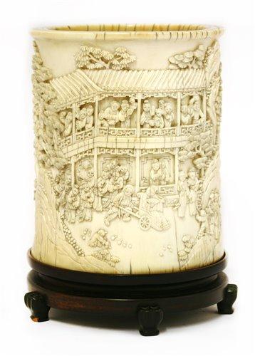 240 - A Chinese ivory brush pot