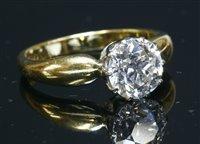 Lot 45-An 18ct gold single stone diamond ring