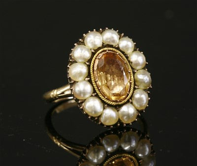 Lot 16-A Georgian foiled topaz and split pearl cluster