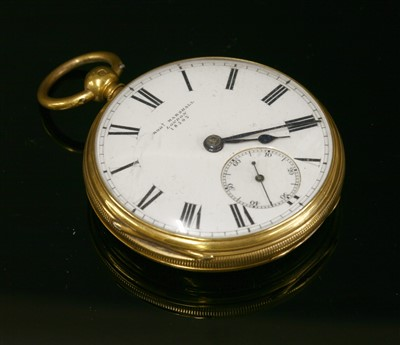 Lot 583-An 18ct gold key wound open faced pocket watch