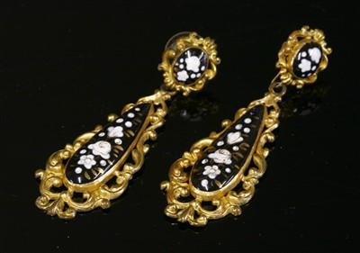 Lot 10-A pair of gilt metal Swiss enamel style drop earrings, c.1830