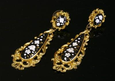 Lot 10-A pair of gilt metal Swiss enamel style drop earrings, c.1830