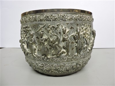 Lot 7-A Burmese silver bowl
