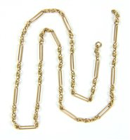 Lot 24-A gold fetter and three link necklace