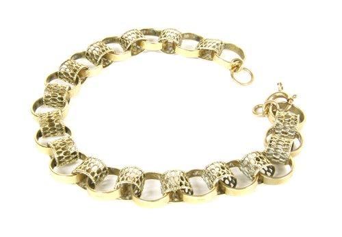 Lot 22-A 9ct gold filigree and plain polished fancy link bracelet