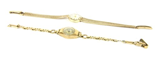 Lot 3-A ladies 9ct gold Tissot mechanical bracelet watch