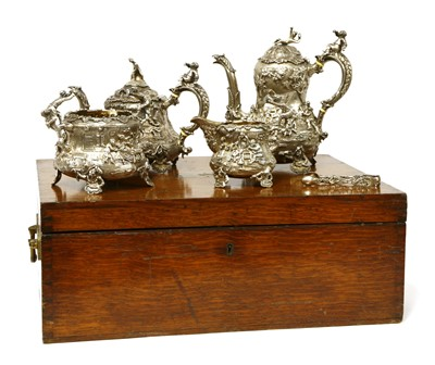Lot 9 - A Victorian silver four-piece tea set
