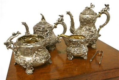 Lot 9-A Victorian silver four-piece tea set