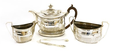 Lot 27-A George III silver three-piece teaset