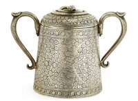 Lot 8 - An Indian silver two-handled sugar bowl and cover