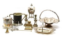 Lot 340 - An early 20th century brass and glass inkwell...