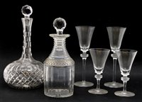 Lot 315 - A near pair of Prussian form glass decanters