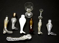 Lot 133 - A collection of glass boot form scent bottles