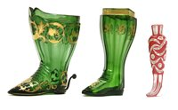 Lot 210 - A Bohemian cased glass boot form scent bottle