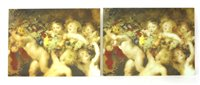Lot 445 - Ten painted glass panels, each painted with...