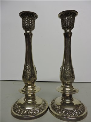 Lot 4-Two pairs Thai silver candlesticks and a box