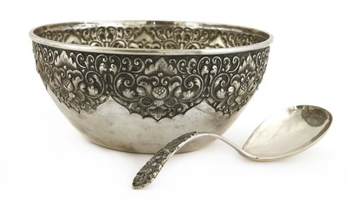 Lot 5-A Thai silver bowl and a ladle