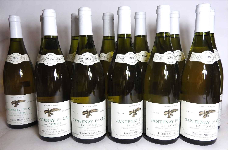 Lot 9-Philippe Milan & Fils, Santenay 1ere Cru La Comme, 2004, twelve bottles