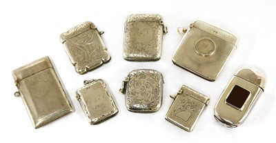 Lot 45-Eight Victorian and later silver vesta cases