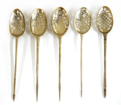 Lot 6-Five silver mote spoons