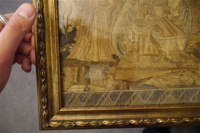 Lot 506-A late 17th century stumpwork picture depicting the Coronation of King Charles II
