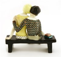 Lot 95-A Lenci figure of a couple rested on a bench