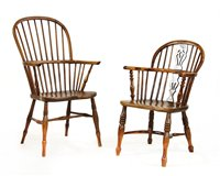 Lot 508-A yew wood, elm and beech high-back Windsor chair