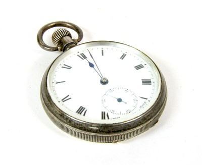 Lot 16-A sterling silver open cased pocket watch