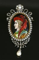 Lot 52-A French silver and gold Limoges, enamel diamond and pearl set brooch/pendant