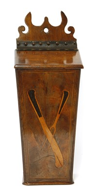 Lot 509-A George III strung mahogany wall-mounted knife box