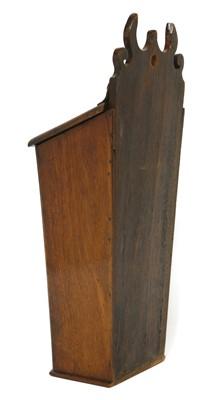 Lot 509-A George III strung mahogany wall-mounted knife box