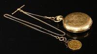 Lot 578-An 18ct gold Waltham USA Riverside Hunter pocket watch