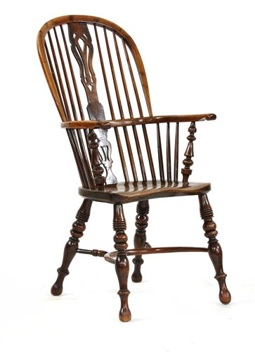 Lot 510-A yew wood and elm high back Windsor chair