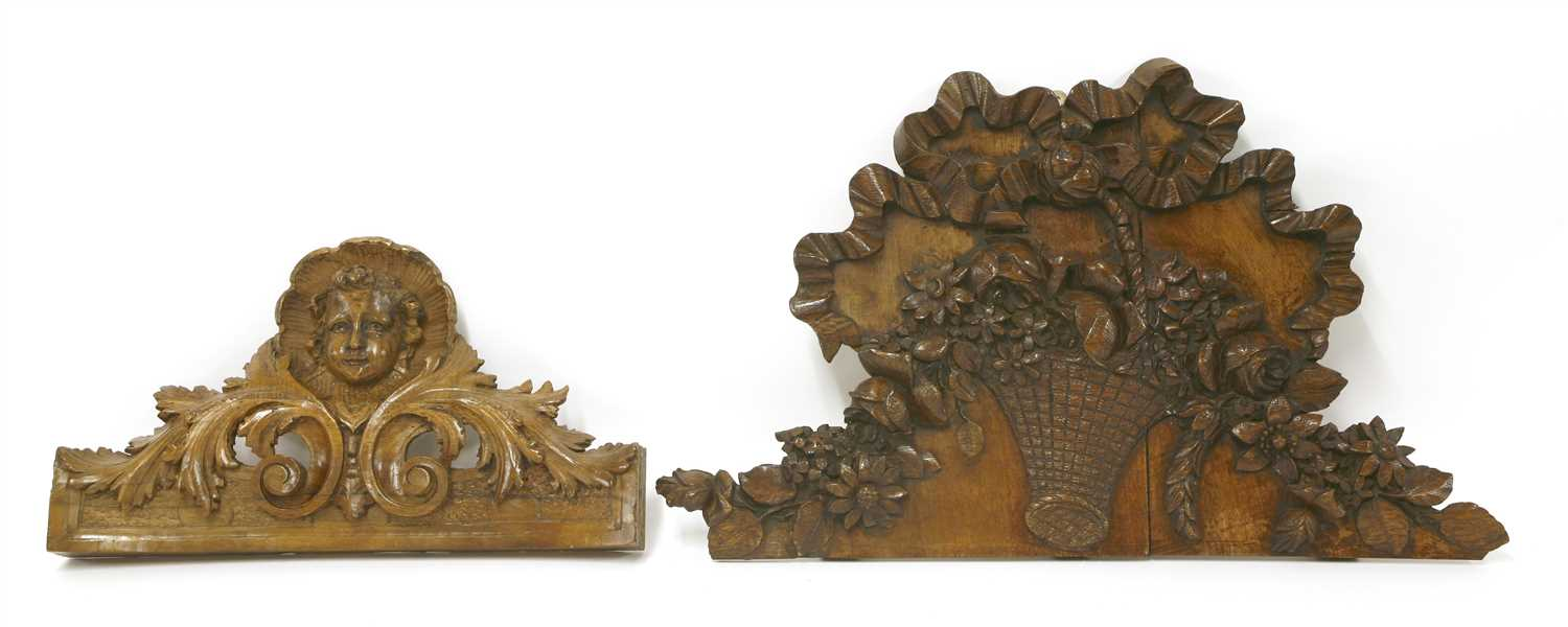 Lot 518-A French walnut floral and fruit carving