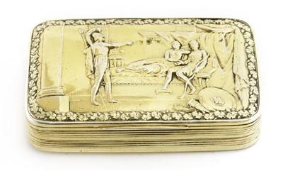 Lot 43-A George III silver gilt snuff box