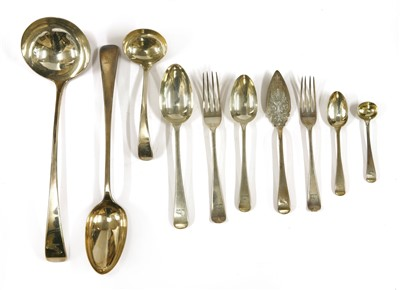 Lot 40-A Victorian silver old English pattern table service for 18 place settings