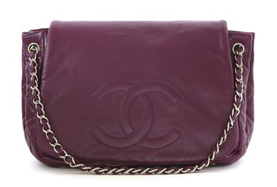 Lot 745-A Chanel purple leather front flap satchel shoulder handbag